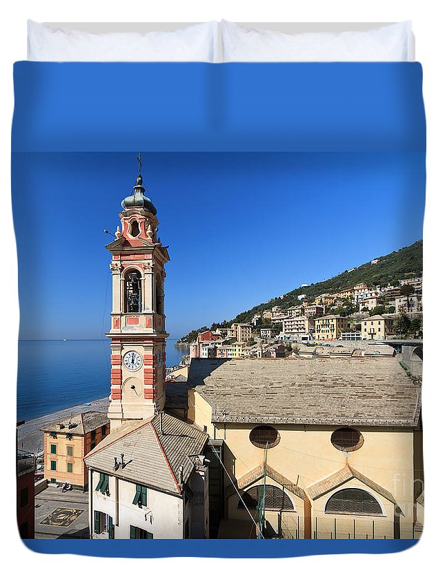 Ancient Duvet Cover featuring the photograph church in Sori by Antonio Scarpi