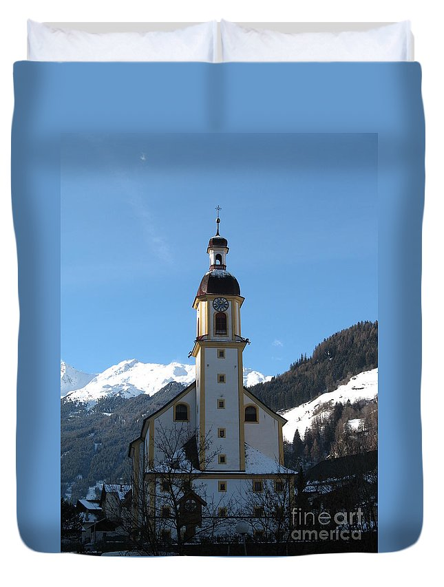 Church Duvet Cover featuring the photograph Church In The Austrian Alps by Christiane Schulze Art And Photography