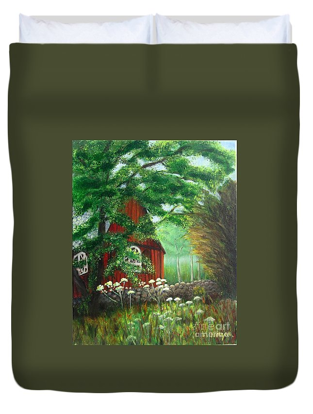 Church Duvet Cover featuring the painting Church In The Glen by Laurie Morgan
