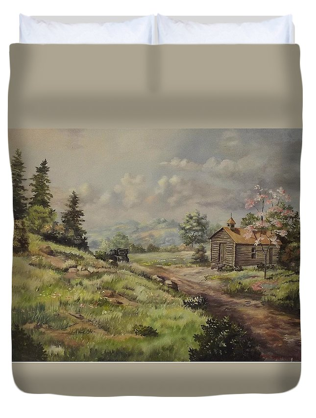Landscape Duvet Cover featuring the painting Church In The Ozarks by Wanda Dansereau