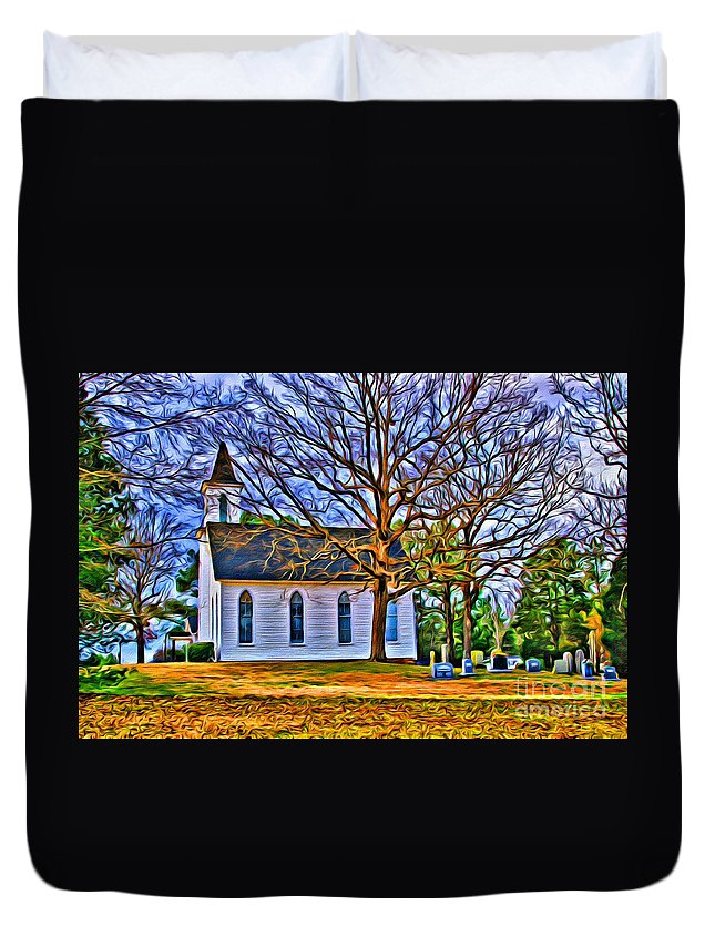 Church Duvet Cover featuring the photograph Church In The Wildwood - Paint by Scott Hervieux