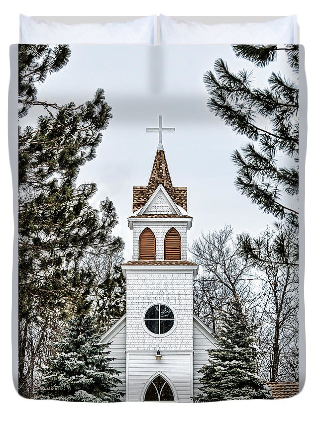 Bethlehem Lutheran Church Duvet Cover featuring the photograph Church In The Woods by Paul Freidlund