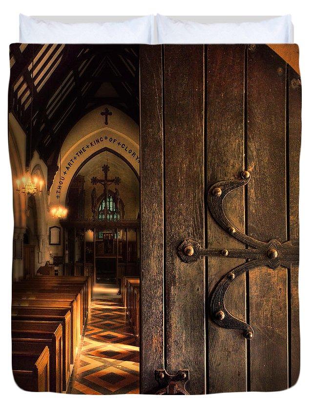 Gothic Duvet Cover featuring the photograph Church Interior by Jill Battaglia
