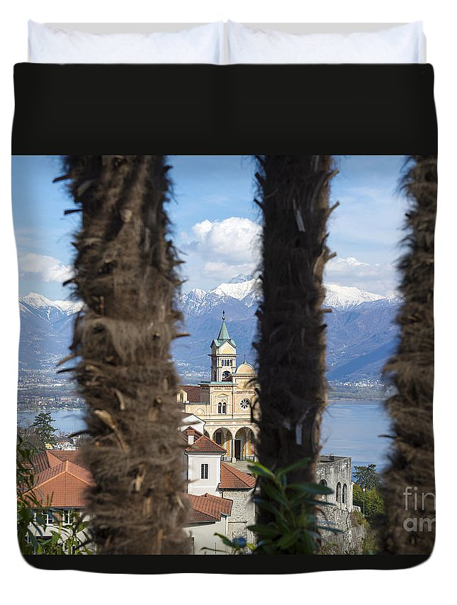 Church Duvet Cover featuring the photograph Church Madonna Del Sasso by Mats Silvan