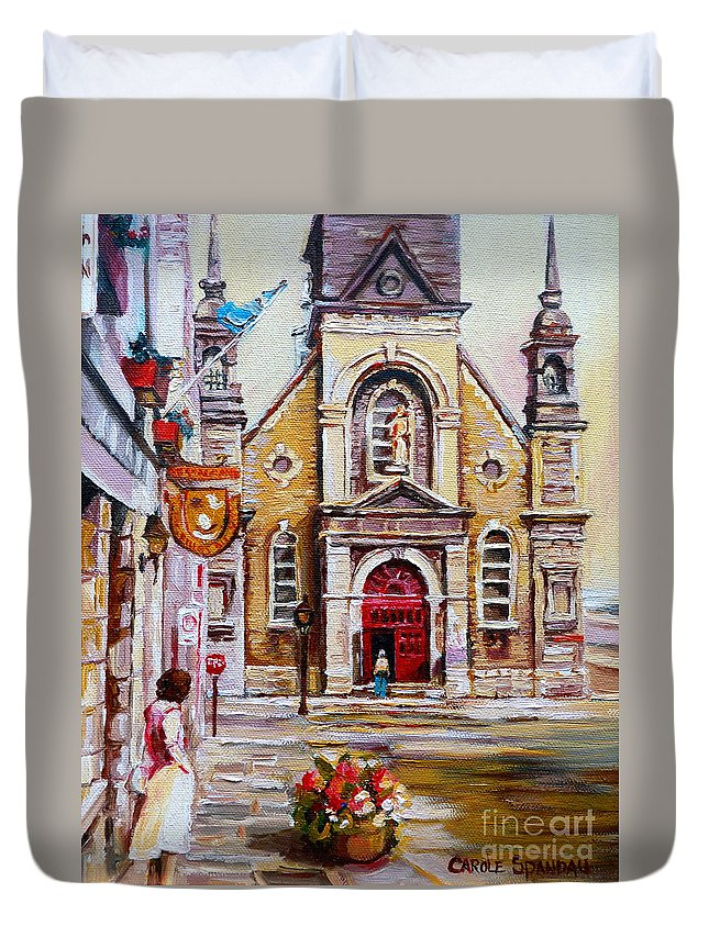 Montreal Churches Duvet Cover featuring the painting Church On Sunday by Carole Spandau