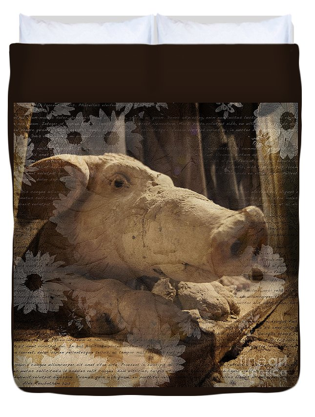 Pig Duvet Cover featuring the photograph Church Pig by Alex Rowbotham