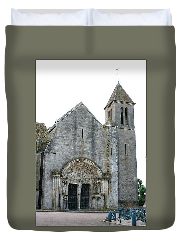Old Church Duvet Cover featuring the photograph Church St Thibault- Burgundy by Christiane Schulze Art And Photography