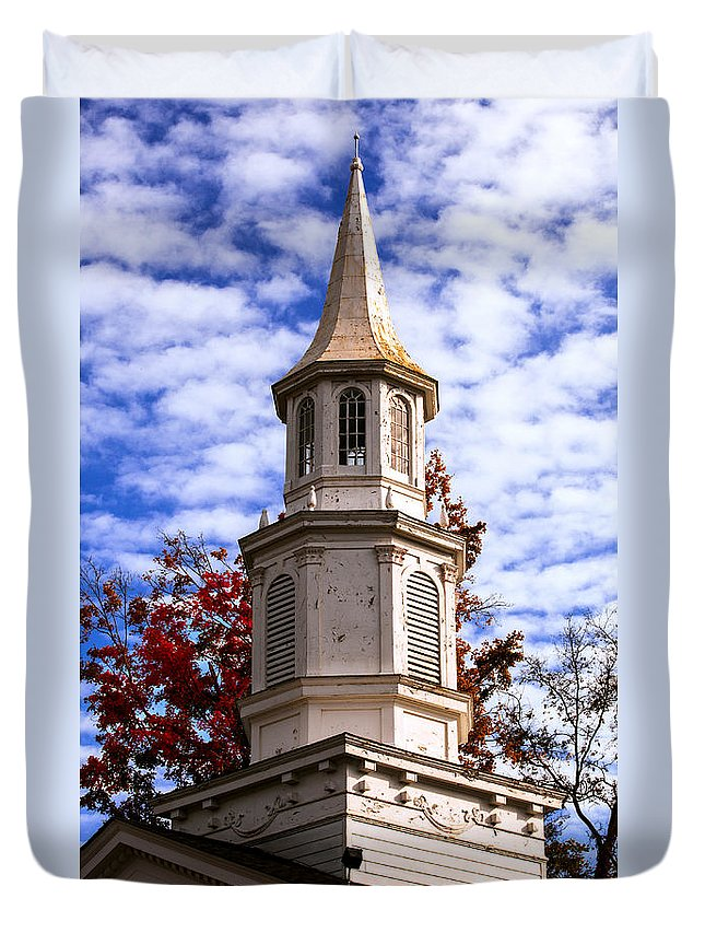 Old Church Steeple In Autumn Duvet Cover featuring the photograph Church Steeple In Autumn Blue Sky Clouds Fine Art Prints As Gift For The Holidays by Jerry Cowart