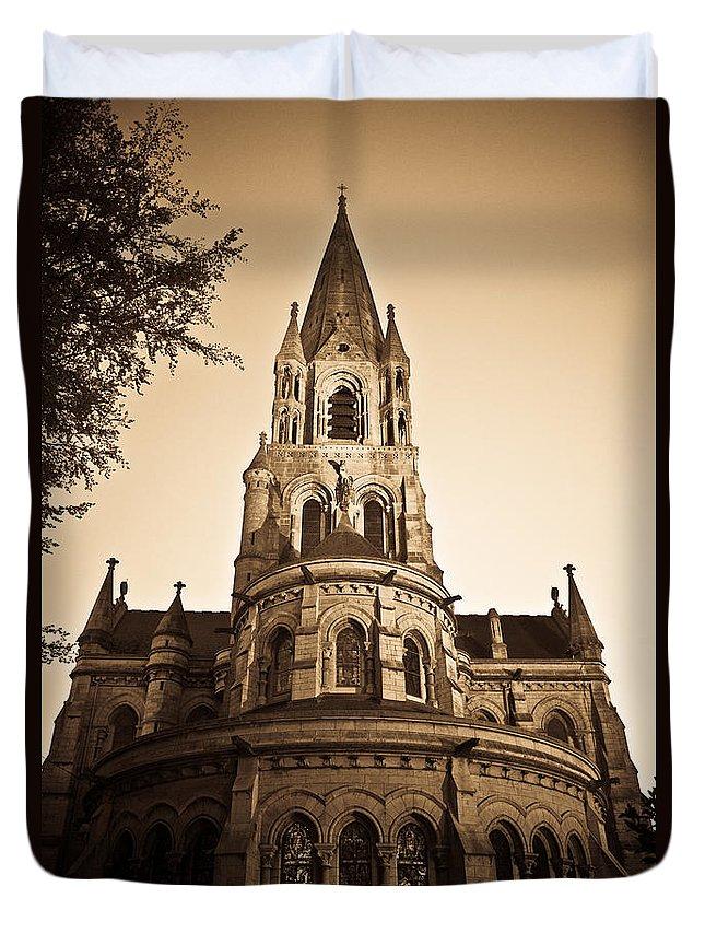 Saint Duvet Cover featuring the photograph Church Towere In Sepia 1 by Douglas Barnett