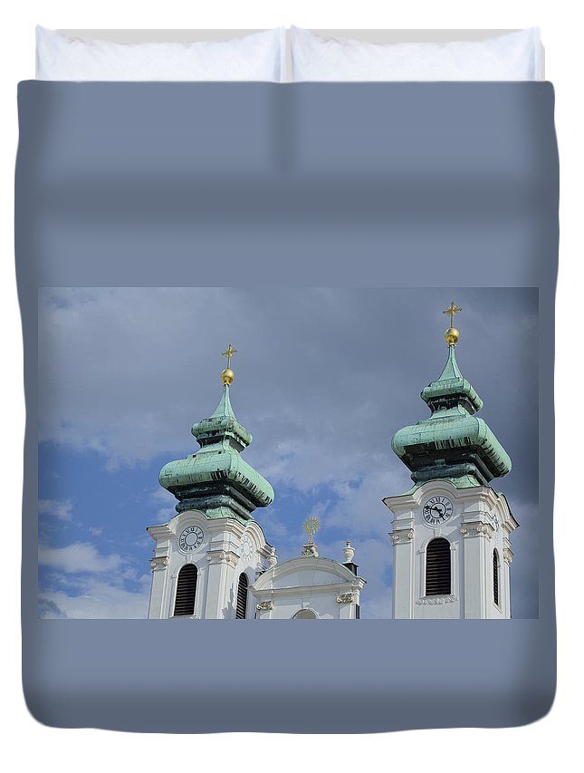 Architecture Duvet Cover featuring the photograph Church Towers by Ferenc Kosa