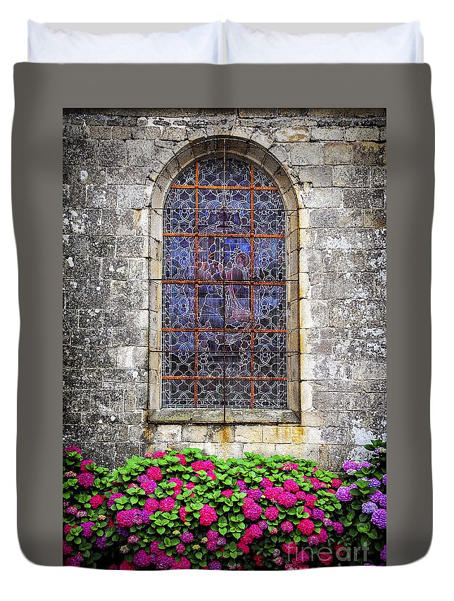 Old Duvet Cover featuring the photograph Church Window In Brittany by Elena Elisseeva