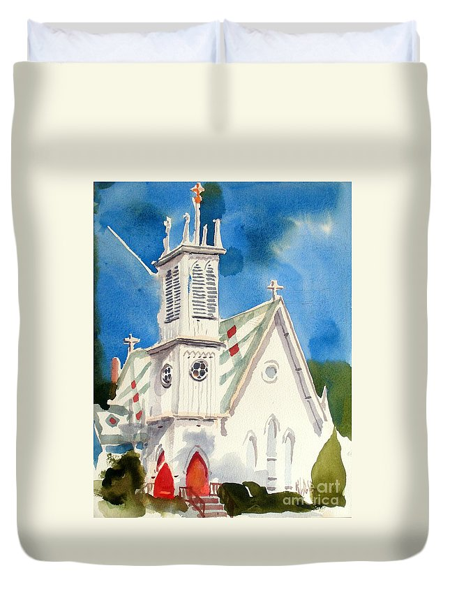 Church Duvet Cover featuring the painting Church With Jet Contrail by Kip DeVore