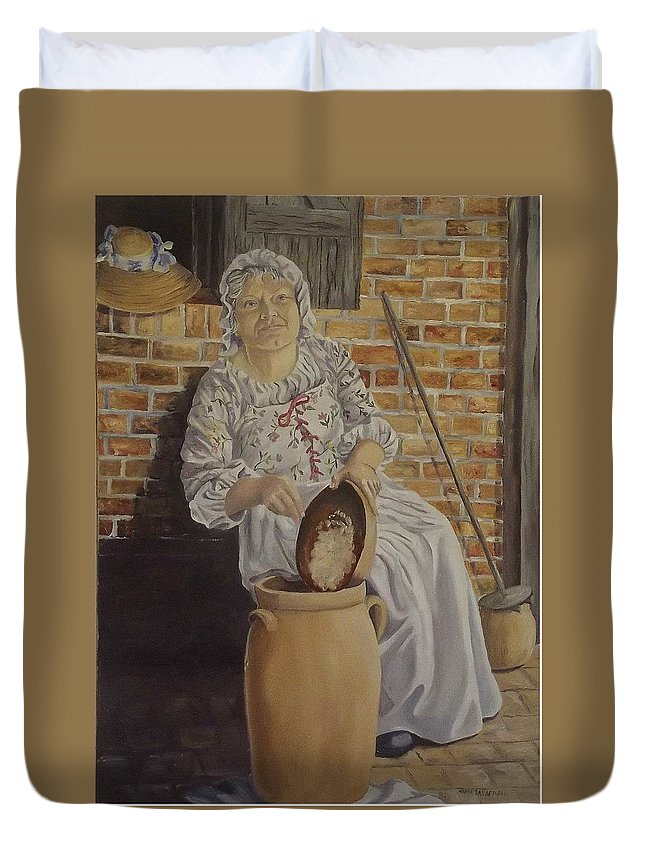 Historic Duvet Cover featuring the painting Churning Butter by Wanda Dansereau