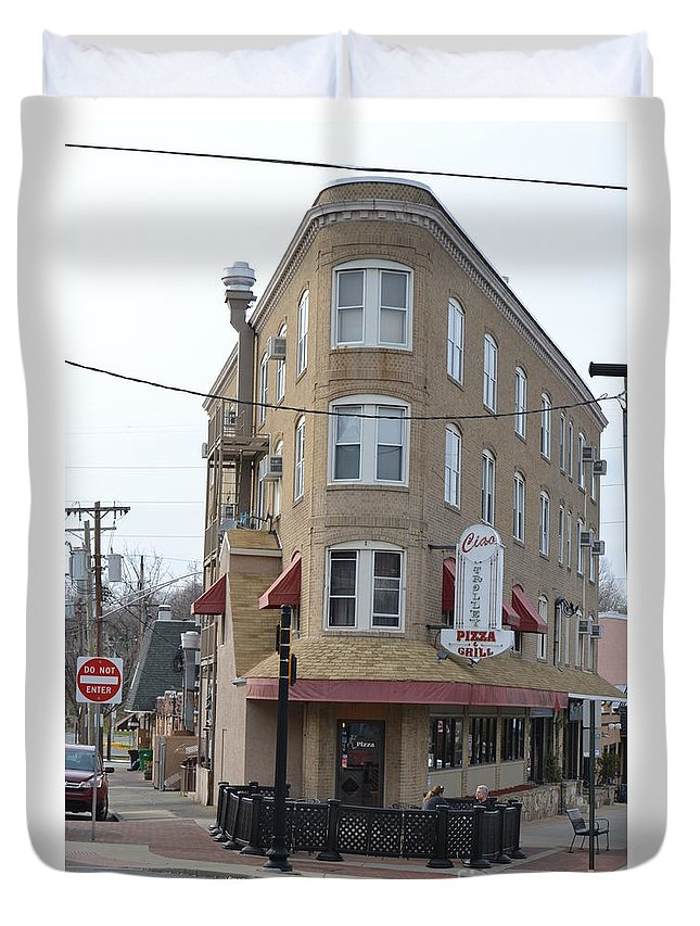 Ciao Pizza Duvet Cover featuring the photograph Ciao Pizza Wilmington De by Heather Jane
