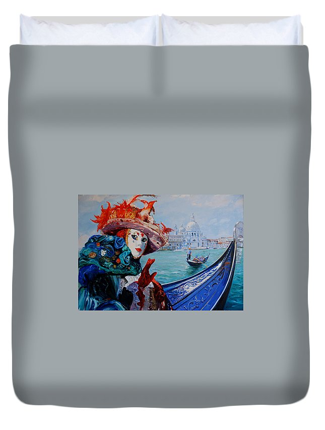 Gondola Duvet Cover featuring the painting Ciao by Sefedin Stafa