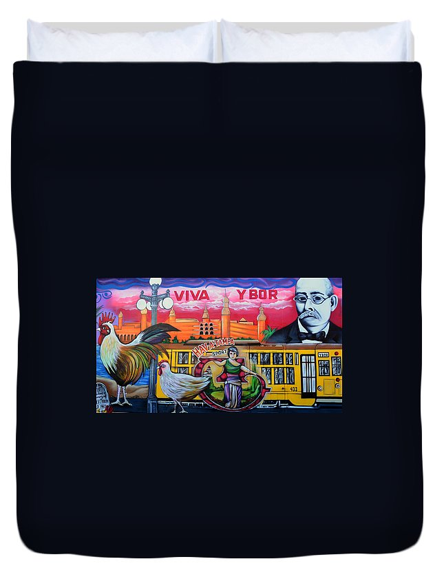 Ybor City Florida Duvet Cover featuring the photograph Cigar City Street Mural by David Lee Thompson