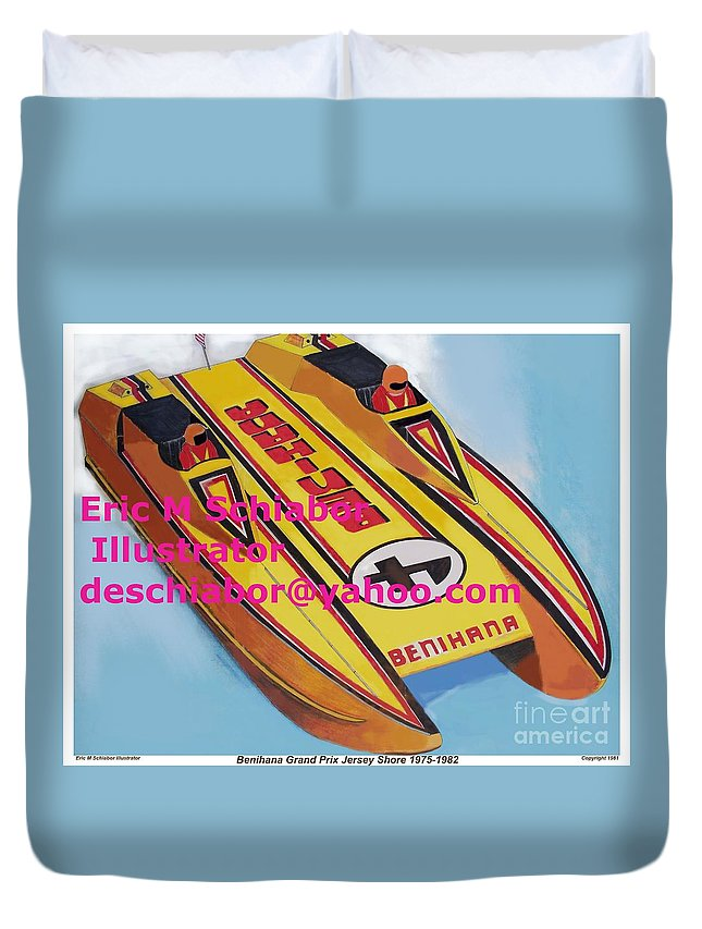 Power Boat Duvet Cover featuring the painting Cigarett Power Boat Illustration by Eric Schiabor