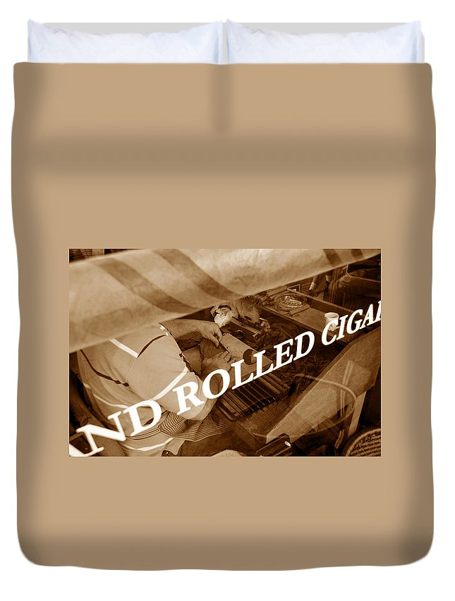 Ybor City Florida Duvet Cover featuring the photograph Cigars The Old Fashion Way by David Lee Thompson
