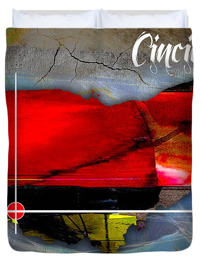 Cincinnati Art Duvet Cover featuring the mixed media Cincinnati Ohio Map Watercolor by Marvin Blaine