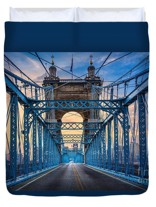 America Duvet Cover featuring the photograph Cincinnati Suspension Bridge by Inge Johnsson