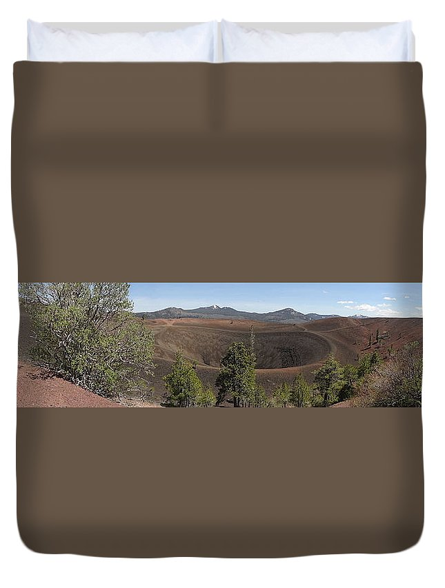 Landscape Duvet Cover featuring the photograph Cinder Cone Crater by Kristina Lammers