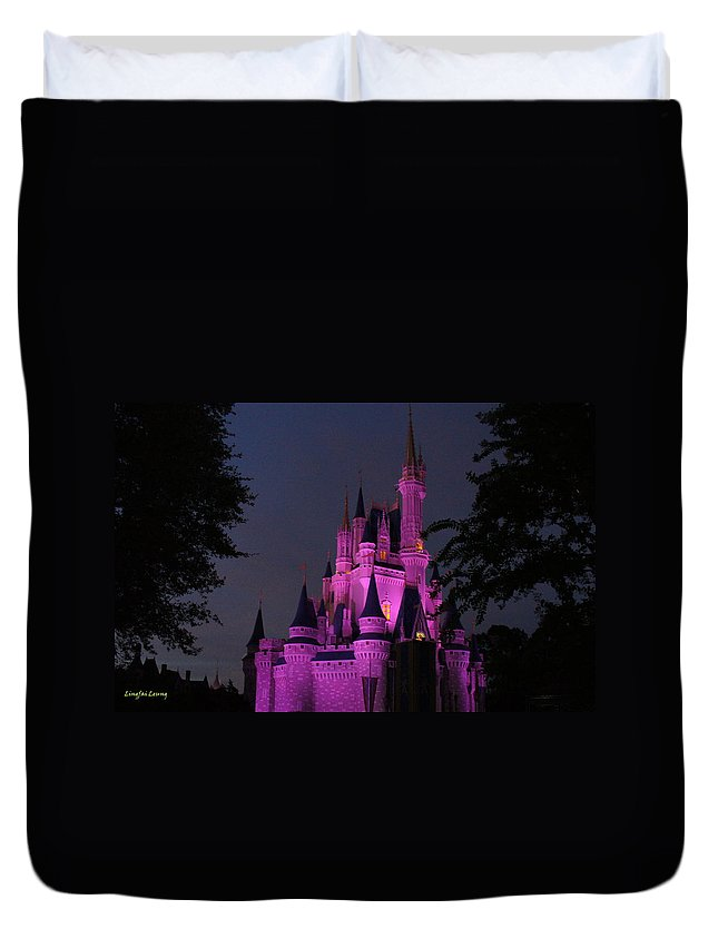 Fantasy Come True Duvet Cover featuring the photograph Cinderella Castle Illuminated In Pink Glow by Lingfai Leung
