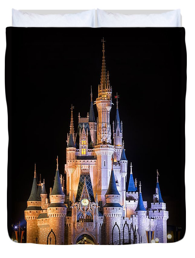 3scape Duvet Cover featuring the photograph Cinderella's Castle in Magic Kingdom by Adam Romanowicz