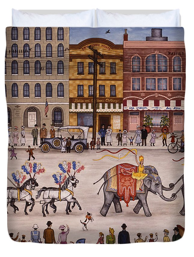 Folk Art City Duvet Cover featuring the painting Circus Parade by Linda Mears