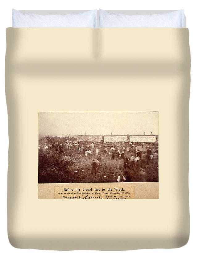 1896 Duvet Cover featuring the photograph Circus Train Wreck, 1896 by Granger