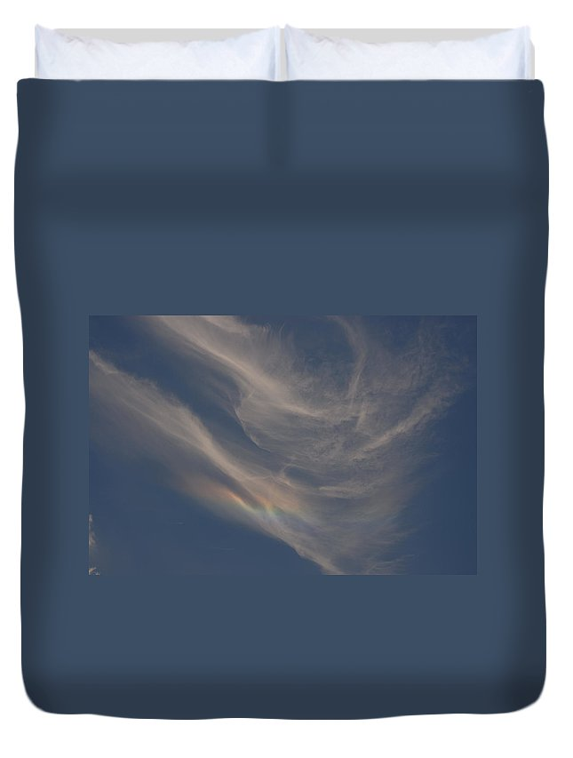 Cloud Duvet Cover featuring the photograph Cirrus Rainbow Cloud by Charles Beeler