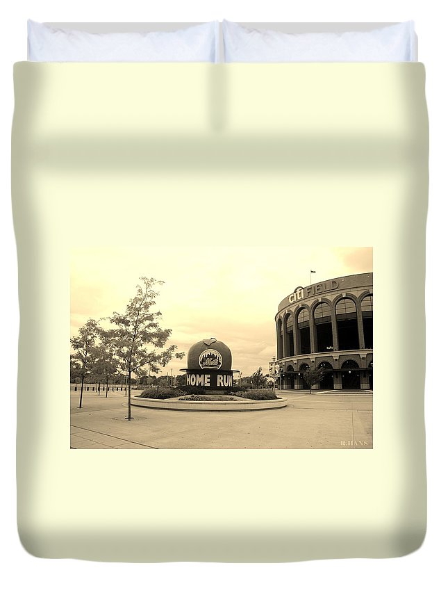 Shea Stadium Duvet Cover featuring the photograph Citi Field In Sepia by Rob Hans