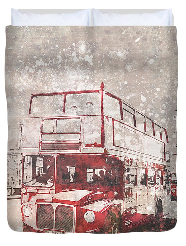 British Duvet Cover featuring the photograph City-art London Red Buses II by Melanie Viola