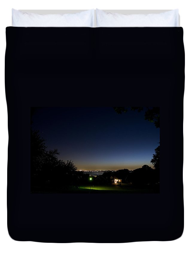 City Duvet Cover featuring the photograph City At Night by Charles Beeler