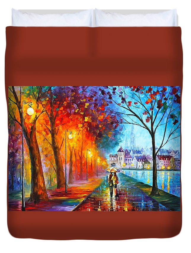 Afremov Duvet Cover featuring the painting City By The Lake by Leonid Afremov