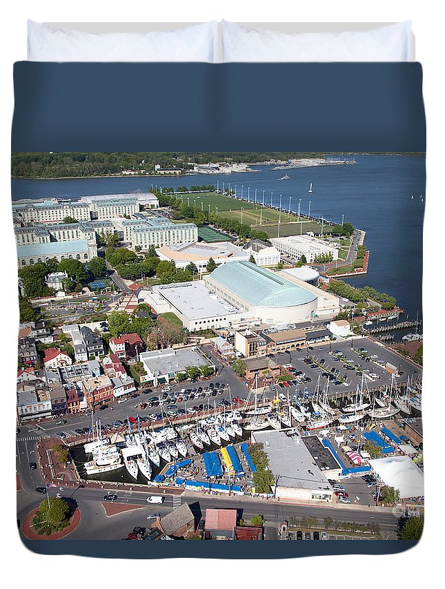 Academy Duvet Cover featuring the photograph City Dock And Usna In Annapolis by Bill Cobb
