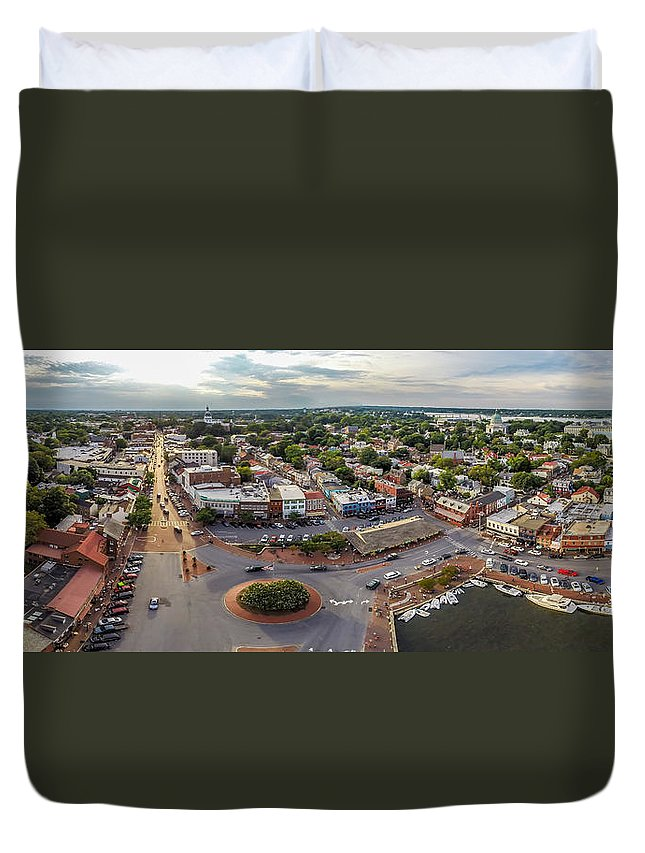 Panorama Duvet Cover featuring the photograph City Dock Panorama by Mid Atlantic Aerial