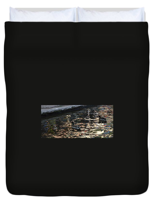 Architecture Duvet Cover featuring the photograph City Ducks 2 by Shawn Marlow
