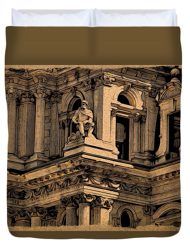 Philadelphia Duvet Cover featuring the photograph City Hall Closeup by Alice Gipson