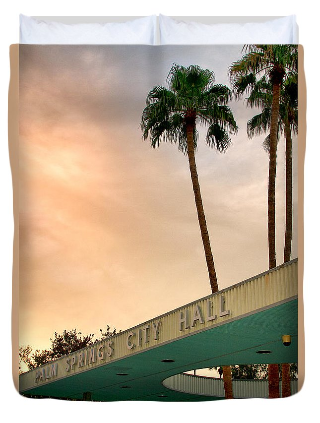 Palm Springs Duvet Cover featuring the photograph City Hall Sky Palm Springs City Hall by William Dey