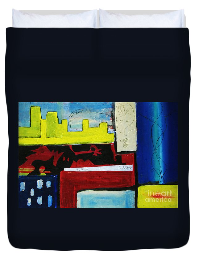 Painting Duvet Cover featuring the painting City Life by Jeff Barrett