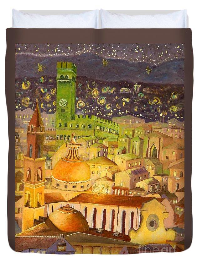Venice Duvet Cover featuring the painting City Light Star Light by Caroline Street