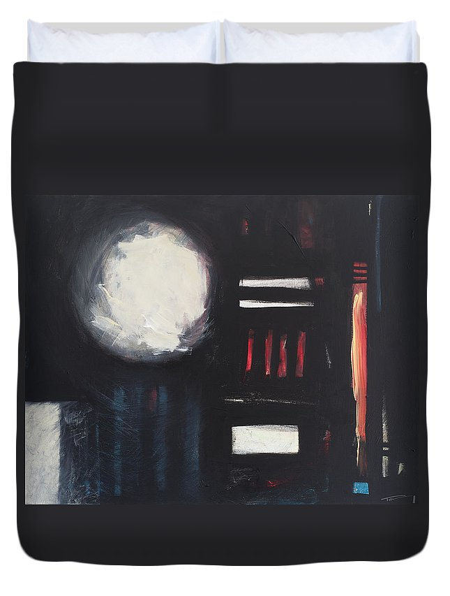 Abstract Duvet Cover featuring the painting City Lights After Rain by Tim Nyberg