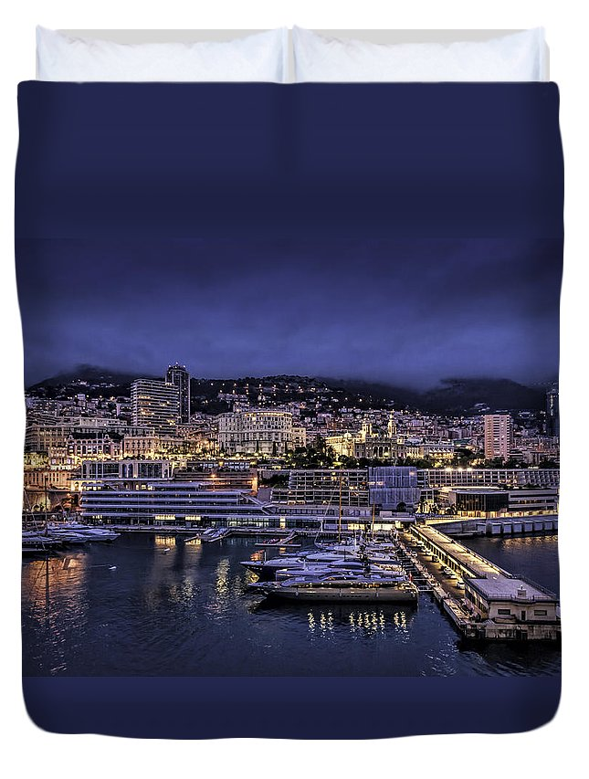 Architecture Duvet Cover featuring the photograph City Lights by Maria Coulson
