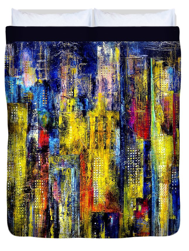 Katie Duvet Cover featuring the painting City Nightime Metropolis by Katie Black