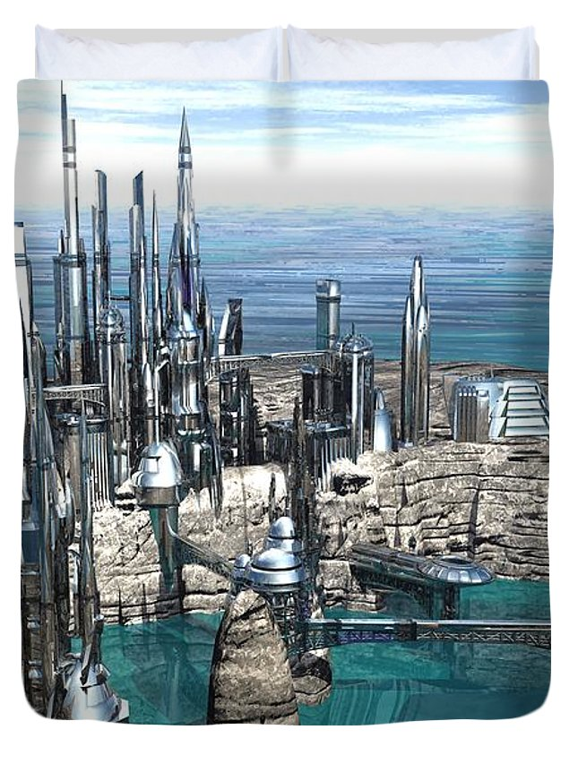 Digital Art Duvet Cover featuring the digital art City Of The Future by Michael Wimer