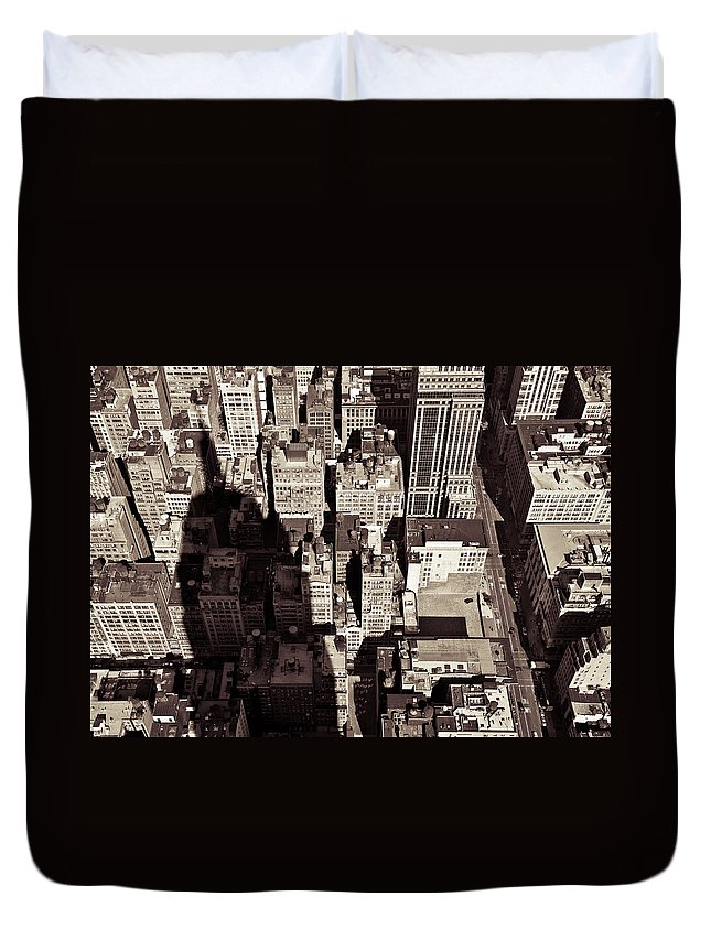 New York Duvet Cover featuring the photograph City Shadow by Dave Bowman