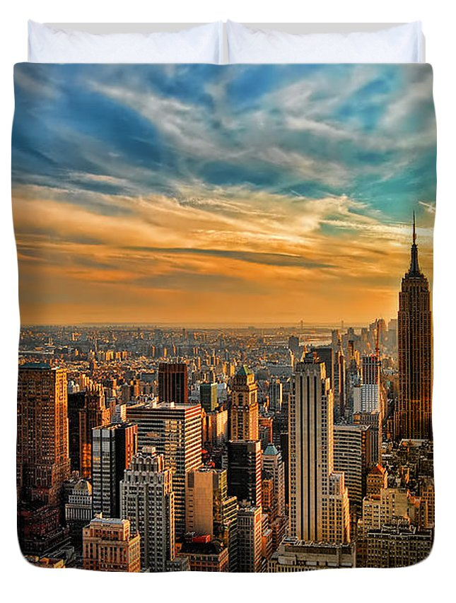 New York City Duvet Cover featuring the photograph City Sunset New York City USA by Sabine Jacobs