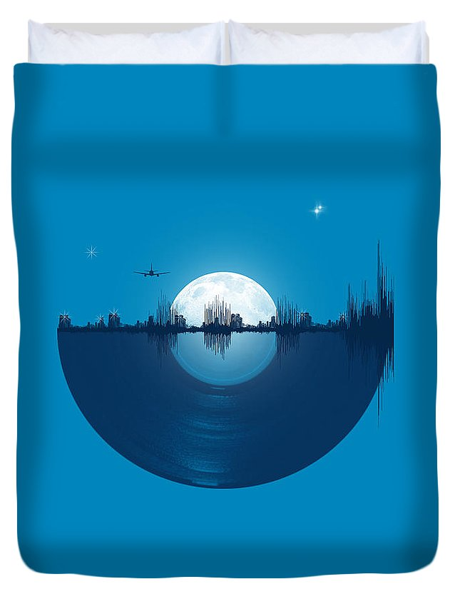 City Duvet Cover featuring the digital art City tunes by Neelanjana Bandyopadhyay