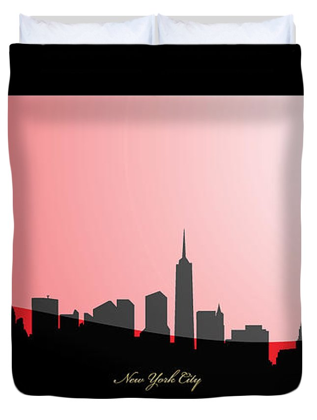 'cityscapes' Collection By Serge Averbukh Duvet Cover featuring the digital art Cityscapes- New York City Skyline In Black On Red by Serge Averbukh