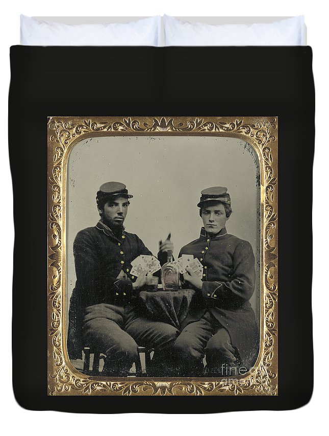 1863 Duvet Cover featuring the photograph Civil War Soldiers C1863 by Granger